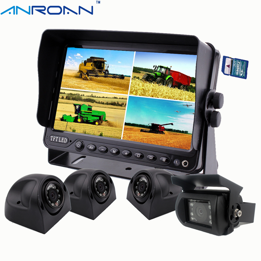 "7"" Quad Split Screen Car DVR Video Recording Camera System"