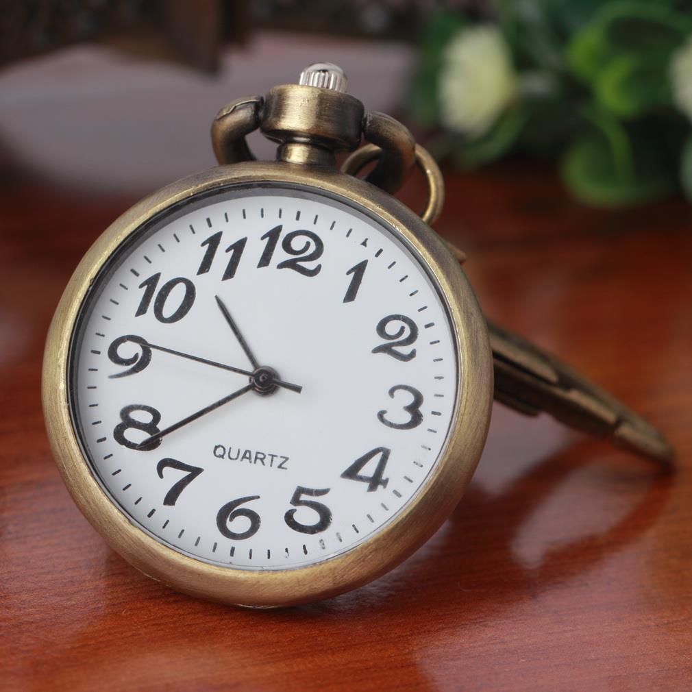 OUTAD 1pc Retro Bronze Quartz Vintage Pocket Watch Movement Keychain Keyring Watch Pocket Watch Round Dial Relogio Masculino