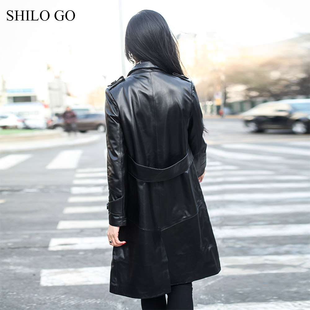 Shilo Aller Unique Une Mouton Printemps En Trench Office Revers Mode Bouton Véritable À Femmes Peau Manteau De Col Ligne Cuir Lady Long awqap