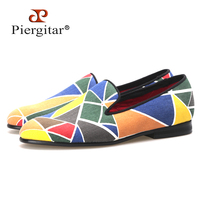 Piergitar new fasion colorful women shoes with tangram design women loafers casual and dress shoes woman flats size us5 us11