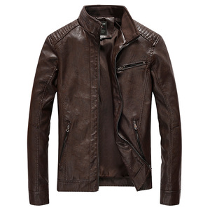 Image 3 - Chaqueta de cuero sintético para hombre, abrigo informal liso de piel sintética, chaqueta ajustada de cuero para motocicleta, prendas de vestir, primavera 2020