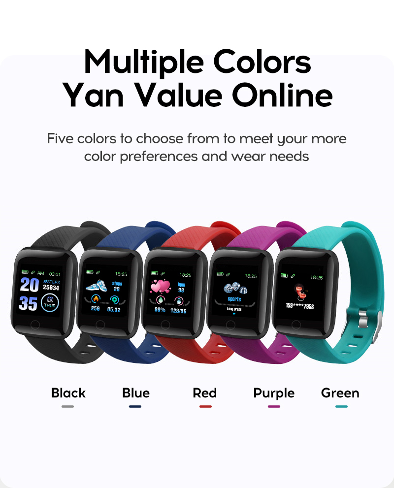 116 Plus Smart Watch Wristband Sports Fitness Blood Pressure Heart Rate Call Message Reminder Android Pedometer Smart Watch