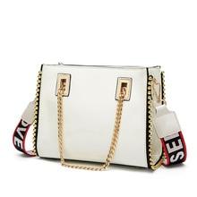 2019 New Small Square Bag Lacquer Joker Chain The Single Shoulder Wide Strap Fashion Messenger