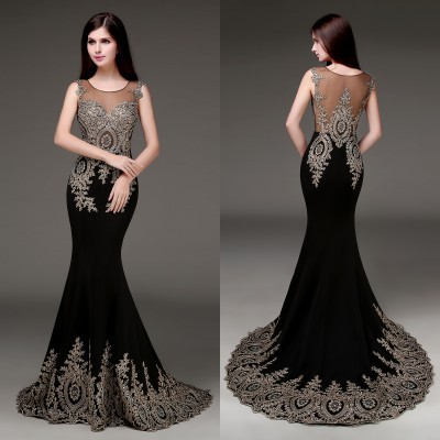 luxury 100 real images spot black stain mermaid prom