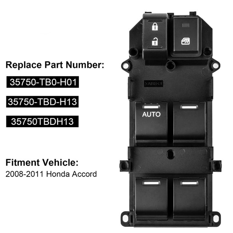 Honda Accord Sedan 08-12 Power Window Switch Front Right 35760-TA0-A21