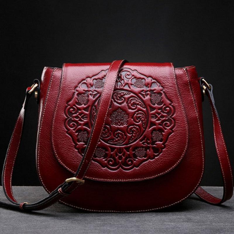 Women Genuine Leather Retro Shoulder Handbags Embossed Chinese Style Circular Sling Messenger Crossbody Bag Tote Handbag