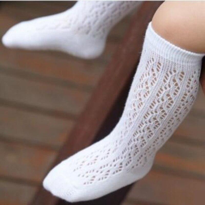 Cute Baby Boys Girls Cotton Mesh Breathable Soft Socks Newborn Infant Non-slip Long Socks Toddler Girl Knee High Socks 0-4Y