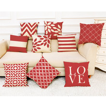 2019 Brand New  Square Flax  pillow Bed  Bed Pillow Cover  Red Geometric Throw Pillowcase Pillow Covers