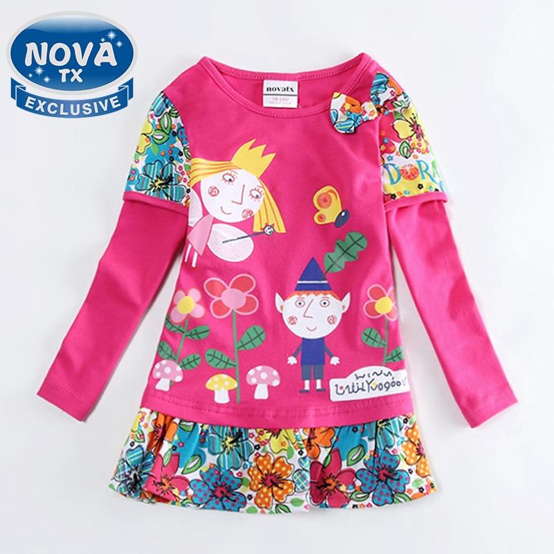 girl dress girls clothes nova kids clothing printed cartoon fashion long sleeve casual dress for girls in spring/autumn F4516