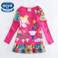 girls dress girls clothes casual dresses for girls printed cartoon fashion long sleeve spring/autumn nova kids clothing F4516