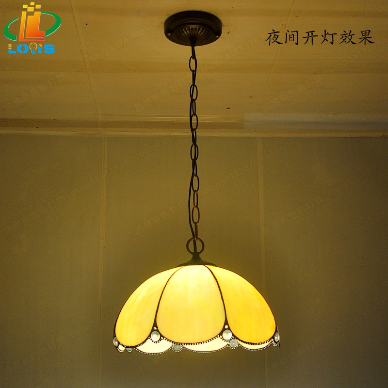 12-inch European-style hot-rolled glass chandeliers Tiffany chess room restaurant dining table retro simple single-head lighting 12 inch simple european style modern restaurant droplight tiffany glass lighting mahjong table mediterranean balcony lamp