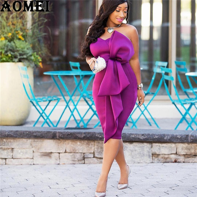 Women Bodycon Dress Off Shoulder Backless with Bowtie Sexy Lady Party  Clubwear Dinner Evening Slim Tunic Femme Package Hip Robes c302c8b7a423