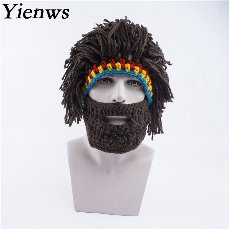 Yienws Knitted Beanies Man Winter Hats Caps Men Funny Wig Beard Rasta Hat  Warm Male Ski Mask Hat YIC034 cfd607ef9ce