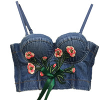 New Flower Embroidery Colorful Bead Pearls Tops Bustier Push Up Night Clup Bralette Women S Bra