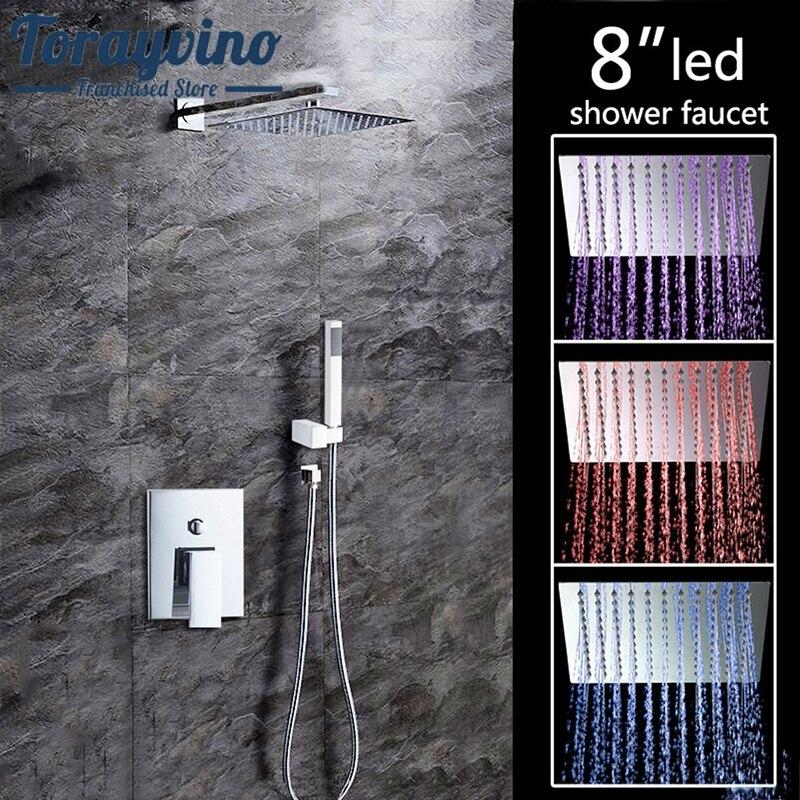 Torayvino 8LED 8 Without LED Luxury Bathrome Bathtub Rainfall Shower head Chrome Polished Wall Mounted Swivel Mixer Shower Set