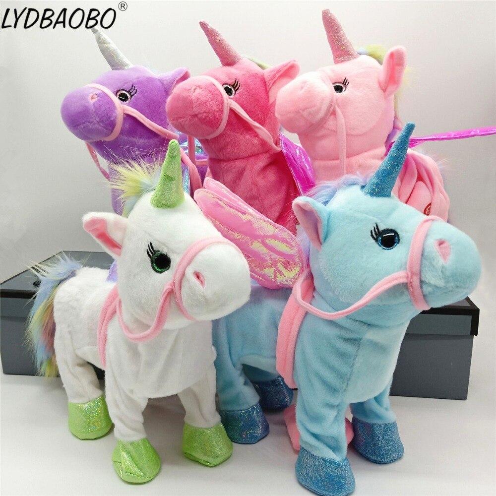 Elektro Walking Einhorn Plüsch Spielzeug Soft Horse Stofftier Spielzeug Elektronische Singen Musik Unicornio Spielzeug Kinder Weihnachten Geschenke