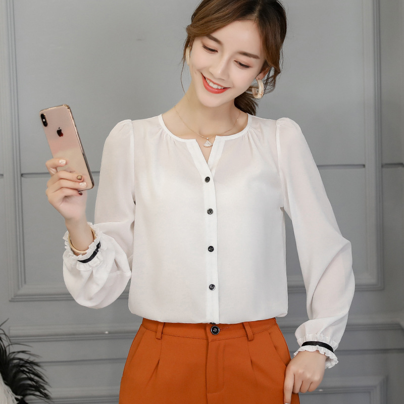 2019 Free Shipping Women Summer Solid Color Blouse Korean Fashion Plus Size Office Lady Button V Neck Sexy