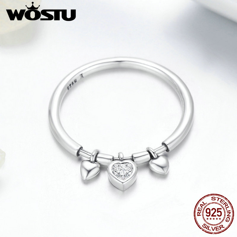 WOSTU New Arrival 925 Sterling Silver Glittering Heart Clear CZ Anel Female Ring Women Wedding Engagement Jewelry FIR215