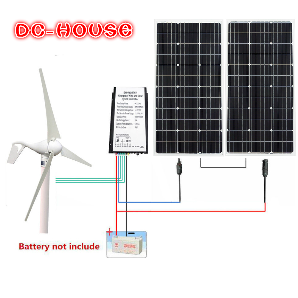 600W H 24V Hybrid Kit 400W DC Wind Turbine Generator w 200W Solar Panel Home AU