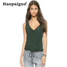 Plus Size 2019 Summer Chiffon Tank Top Women Loose Top Ladies Backless Sleeveless V Neck Shirt Top Female Camisole Green