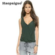 Plus Size 2019 Summer Chiffon Tank Top Women Loose Top Ladies Backless Sleeveless V Neck Shirt Top Female Camisole Green недорого