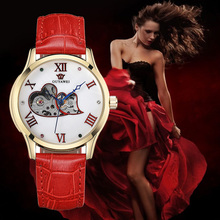 цены на Relogio Automatico Watches women Mechanical automatic Wristwatch Red Leather  Female Mechanical Watch bayan kol saati OUYAWEI  в интернет-магазинах