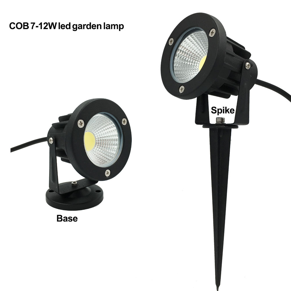 1x COB 3W 5W 7W 9W LED Garden Light Outdoor IP65 Lawn Lamp with Base or Spike LED Landscape Lighing for Garden Use Path Lights