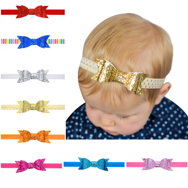 ff703e2a694b Free Shipping 10pcs lot Neon Sequined Bows Glued Elastic Hairbands Girls  Sequin Bows Headbands Kids Hair Accessories