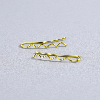 Kinitial Fashion Geometric Wave Bar Earrings Rose Gold Color Ear Crawler Drop Earrings for Women Girl Ear Cuff brincos 3