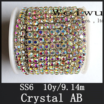 Hight Quality SS6 10 Yard Silver Base Silver Crystal AB Densify Crystal Strass Rhinestone Chain