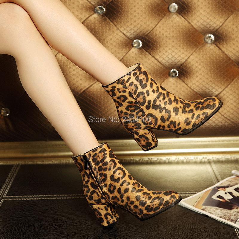Faux Rosshaar Wildleder Leopard Stiefeletten Braun Dick Chunky Ferse Sexy High Heels Flock Zip Booties Damen Herbst Schuhe Auf verkauf - 5