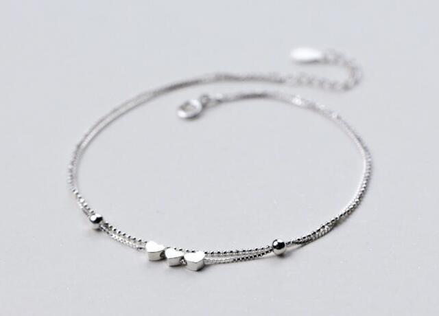 3f774754b 925 Sterling silver Fine Jewelry Multi-Layers /Double Rows 3-Heart & Beads  Anklet Bracelet GTLS548