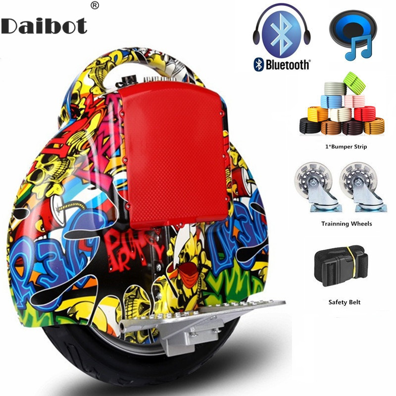 Daibot Portable Electric Scooter One Wheel Self Balancing Scooters Buletooth <font><b>Speaker</b></font> <font><b>14</b></font> Inch 350W 60V Electric Unicycle Scooter image