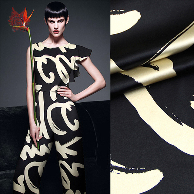 High grade luxury black gold streak print spandex silk fabric for dress heavy stretch silk yarn tissue 19mm free ship SP1326