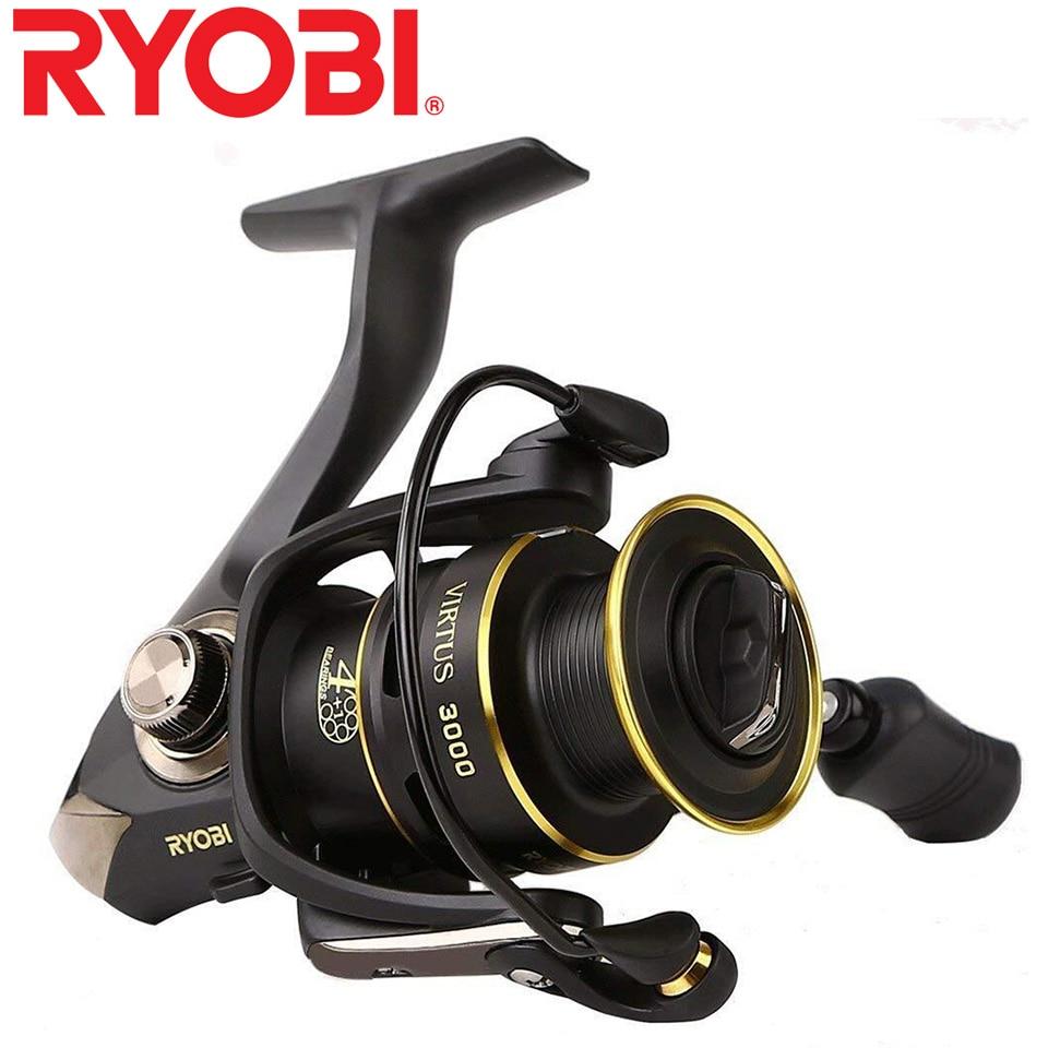 Moulinet de pêche Original RYOBI moulinet de pêche VIRTUS 4 + 1 roulements 5.0: 1/5. 1:1 rapport 2.5 KG-7.5 KG puissance moulinets japon avec poignée de CNC
