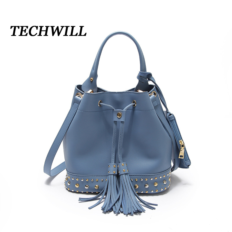 2017 New Circular Rivet Bucket Women Handbags PU Leather Shoulder Crossbody Tote Tassel Bag Bolsa Feminine BaoBao Female Purse