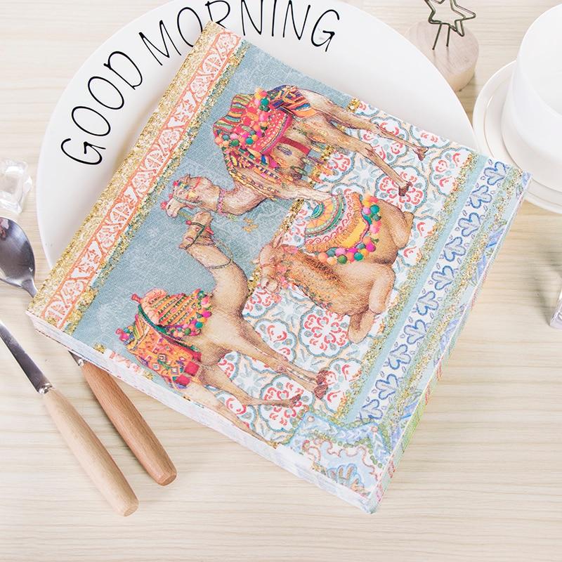 Decoupage Wedding Vintage Napkins Table Paper Tissue Camel Servilletas Decor