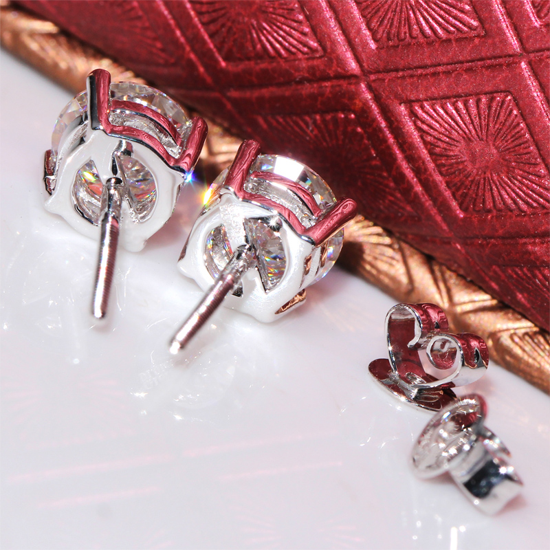 Doveggs 정품 14 k 585 화이트 골드 2 ctw 캐럿 f 컬러 랩 여성용 moissanite 다이아몬드 귀걸이 스크류 백-에서귀걸이부터 쥬얼리 및 액세서리 의  그룹 3