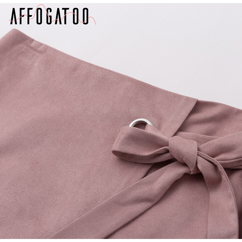 Affogatoo Asymmetrical sash knotted suede skirt women High waist sexy split winter skirt 18 Autumn casual leather skirt female 6
