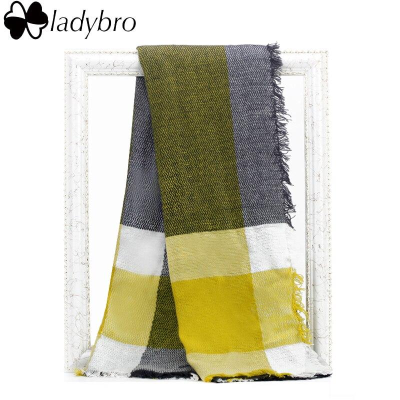 Ladybro зима Для женщин шарф бренд Дизайн платки Шарфы для женщин теплые Европа Классический шерстяной шарф в клетку квадратный Одеяло пашмины