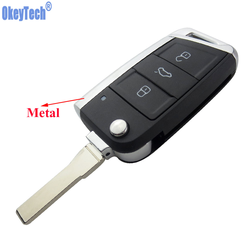 OkeyTech 3 Buttons Modified Folding Flip Remote Car Key Cover Case Fob Shell For VW Golf 7 GTI MK7 Skoda Octavia A7 Seat No LogoOkeyTech 3 Buttons Modified Folding Flip Remote Car Key Cover Case Fob Shell For VW Golf 7 GTI MK7 Skoda Octavia A7 Seat No Logo