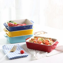 Square Baking Bowl Ceramic Dinner Plate Food Containers Oven Tableware Creative Salad Bowl Home Baking Bowl