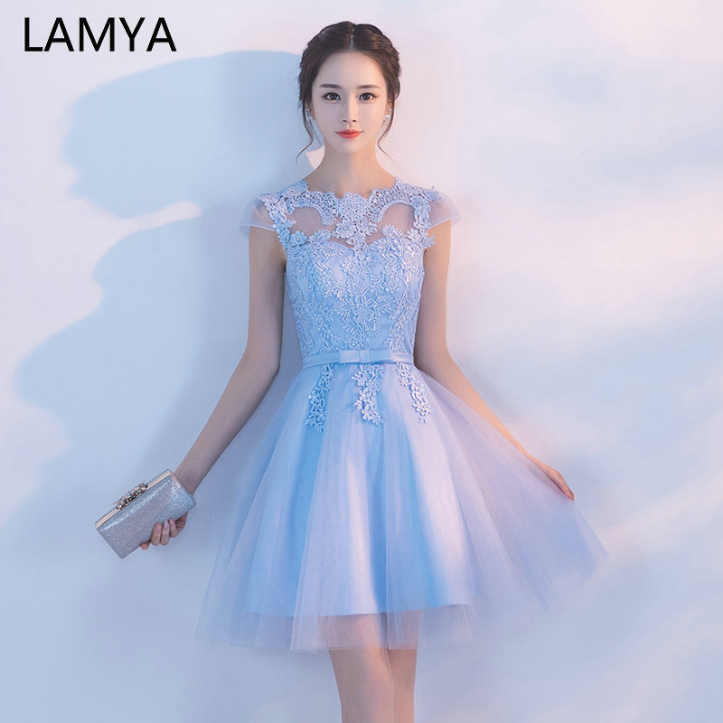 LAMYA Cheap Customized Cap Sleeve Prom Dress Appliques Ball Gown Evening Dresses Vintage Knee Length Special Occasion Gowns