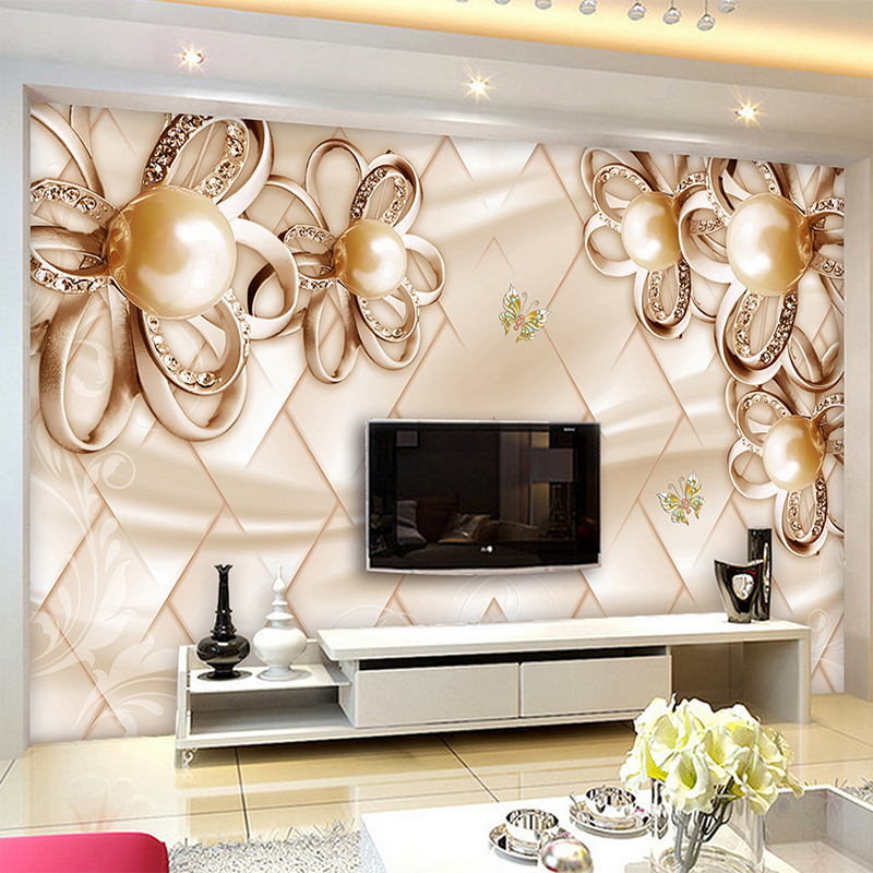 Large 3d European Pearl And Rose Jewelry Tv Background: Aliexpress.com : Buy Custom Wall Cloth 3D Golden Roses