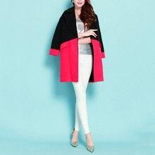 2016 Autumn Winter New Fashion OL Overcoat Korean Women's Color Block Outwear Long Sleeve Wool Jacket Coat Female Windbreaker