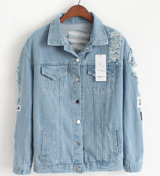 Women Frayed Denim Bomber Jacket Appliques Print Where Is My Mind Lady Vintage Elegant Outwear Autumn Fashion Coat 8