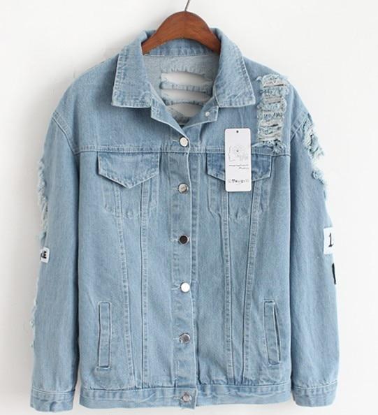 HTB1KW6Gs7yWBuNjy0Fpq6yssXXab Women Frayed Denim Bomber Jacket Appliques Print Where Is My Mind Lady Vintage Elegant Outwear Autumn Fashion Coat Vangull 2018