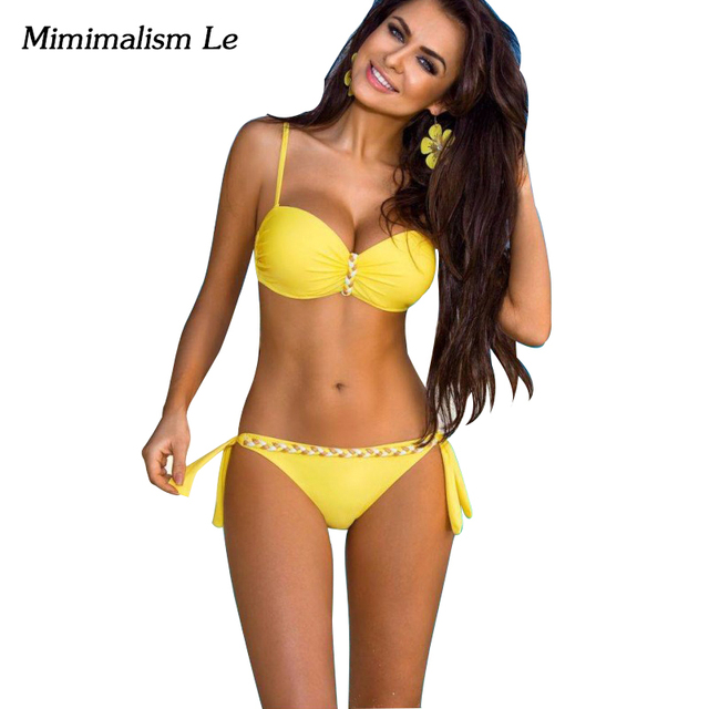 07922a64110 Minimalismo Le marca Bikini 2018 mujeres traje de baño Push Up a rayas más  tamaño Bikini