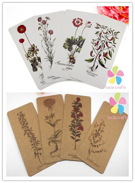 Lucia crafts 6pcs/lot random styles Printed bookmarks Kraft paper chipboard card 078012007