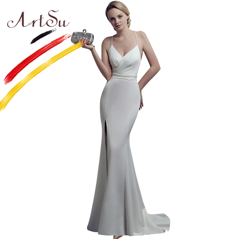 ArtSu Women Elegant Floor Length Long Mermaid Dress Sexy Halter Backless Diamond Beading Bandage Maxi Party Dress Prom Vestidos
